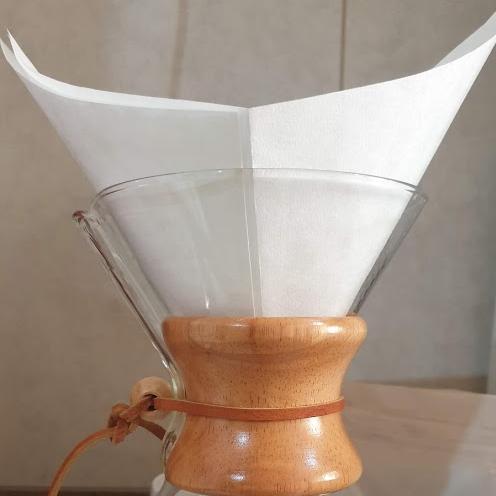 Chemex pre-folded filters inside Chemex coffeemaker