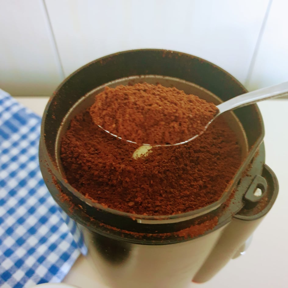 Coffee beans ground to the perfect size for Moka pot brewing method.